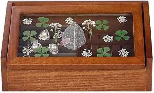MWXFYWW Cajas de Madera para Joyas Cubierta Superior de Vidrio Cofre de Joyas Forro de Terciopelo Retro Caja de Almacenamiento para Pendientes Anillos Collares Diseño de impresión único