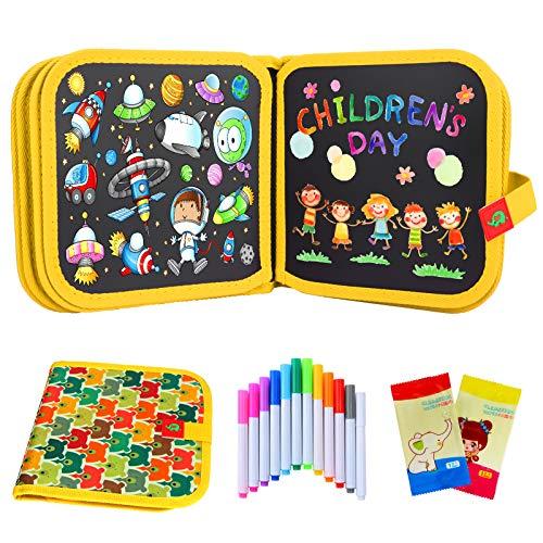 Sinwind Pizarra Portatil Infantil Tabla de Dibujo Portátil para Niños, Tablero de Dibujo de Graffiti, Libros Blandos de Pizarra Reutilizable, con 12 Plumas de Colores 14 Página