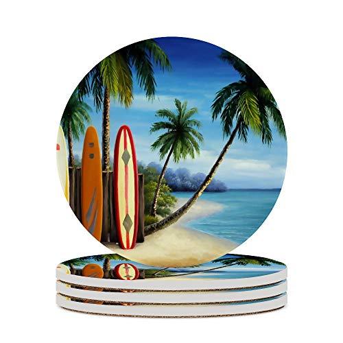 Posavasos para bebidas, playa, tablas de surf, gafas, cojín para decoración del hogar, tazas de corcho, almohadillas para mesa de café, protección contra la suciedad, 4 unidades
