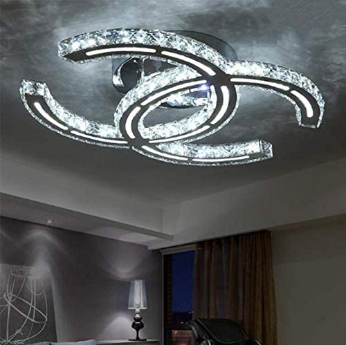 LAKIQ LED Crystal Flush Mount Ceiling Lighting Fixture Modern Living Room Bedroom Close to Ceiling product image