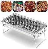 YGB Haushaltsgrill Grill Edelstahl BBQ Grill Tragbarer zusammenklappbarer Grillrost Outdoor Camping Picknick Kochwerkzeug für 2-5 Personen