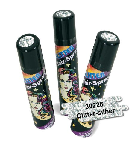 FASCHING 30226 Hairspray Glitter silber, Haarspray+Glitzer+Farbe NEU