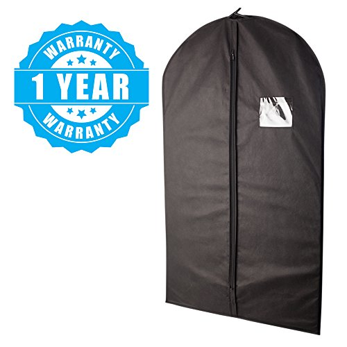 Plixio Garment Bags Suit Bag for Travel and Clothing Storage of Dresses, Dress Shirts, Coats— Includes Zipper and Transparent Window (Black- 5 Pack: Mixed Sizes)