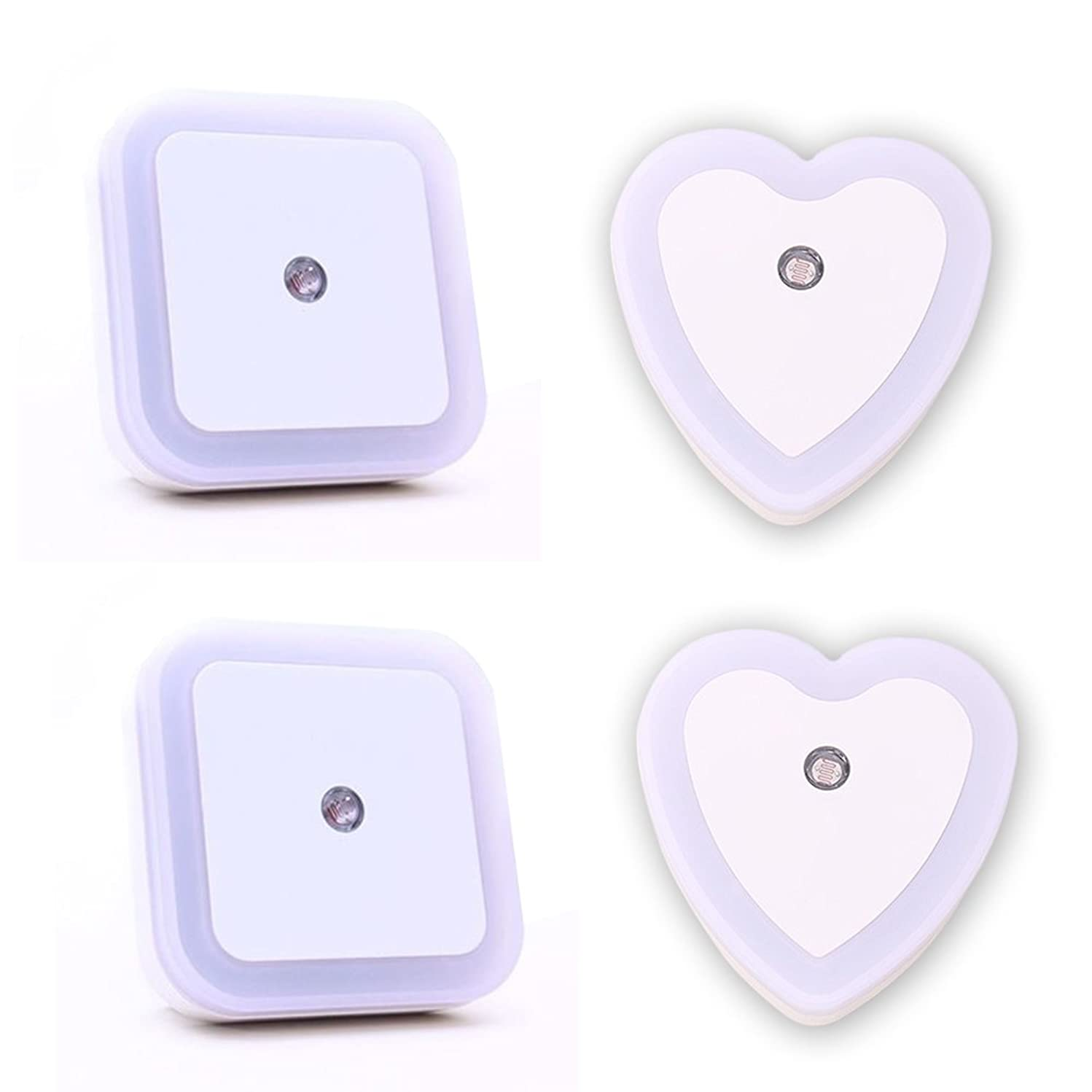 Sealive Daylight White 0.5W Plug in LED Night Light Wall Lamp with Smart Sensor,Automatic on Off,Plug to Use,Perfect for Bedroom,Nursery and Baby's Room - 2 Packs Square and Heart Shape Light