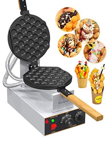 WantJoin Machine à Gaufres aux Oeufs Bubble Waffle Gaufrier 1400W Électrique Appareil à Beignet Professionnel Waffle Egg Cake Maker pour Cuisine Restaurant Soirée et Fête (Acier Inoxydable)
