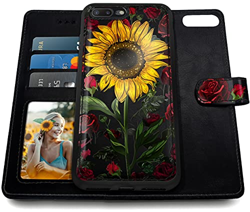 Shields Up iPhone 8 Plus Case/iPhone 7 Plus Case, [Detachable] Magnetic Wallet Case with Card Slots & Wrist Strap, [Vegan Leather] Cover for Apple iPhone 8 plus/7plus - Rose Flower/Sunflower