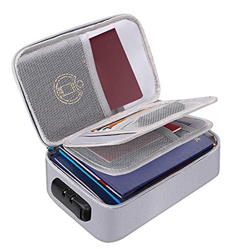 Bolsa de almacenamiento de archivos con candado, 3 capas, organizador de documentos con candado de código seguro, tarjetas bancarias, objetos de valor y bolsa de viaje