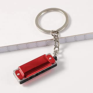 HJKL Harmonic Keychain,Mini 8 Tone 4 Holes Harmonica Keychain Key,Musical Instruments Shaped Keychain Pendant(red)