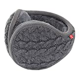 Surblue Unisex Warm Knit Cashmere Winter Pure Color Earmuffs with Fur Earwarmer, Adjustable Wrap,Gray,Large