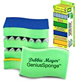 Debbie Meyer GeniusSponge Value Pack Includes 5 Sponges with Built-in Bacteria Blocker; 3 Scrubbers & 2 Scourers. Helps Inhibit the Growth of Bacteria & Mold in & on the Sponge. Extremely Long Lasting