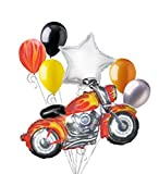 7pc Motorcycle Flames Balloon Bouquet