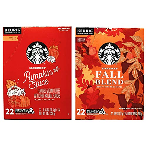 Starbucks Coffee K Cups Coffee Pods Seasonal Variety Pack of 2 Flavors - 44 K Cups Total - Pack of 2 Boxes - 22 K Cups Per Box - Choose a Flavor Combo (Fall Blend and Pumpkin Spice)