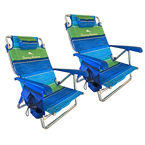 Tommy Bahama Set of 2 Low to The Ground Beach Chairs with Storage Pouch Towel Bar and Cooler (Nautical Stripe)