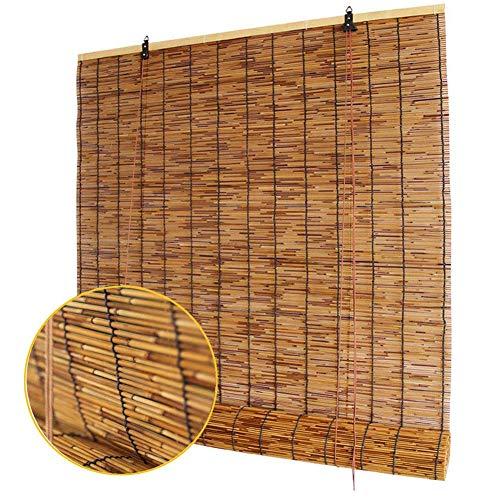 HOMRanger Bambusrollo, natürliche Schilfrohrmachung, Rollo, Retro, dekorative Vorhänge, wasserdicht, feuchtigkeitsbeständig, Schilf, braun, W150xH250cm(59x98inch)