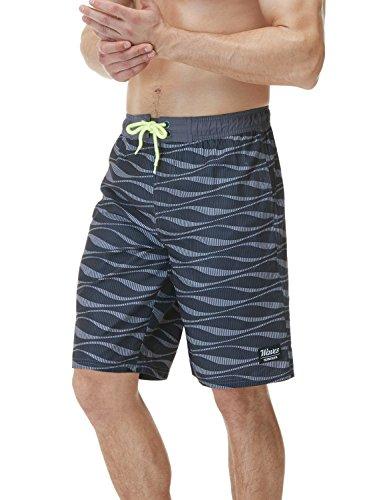 TSLA Herren 11 Zoll Quick Dry Badehose Wasserstrand Board Shorts, Msb02 1pack - Wave Dark Grey, S
