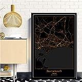 Impresión De Lienzo,Bournemouth Inglaterra Mapa De La Ciudad Verticales Oro Y Negro Pared Arte Pintura Lienzos Decorativos Adecuado Para Cuadros Dormitorios, Cuadros Decoracion Salon Modernos,80X110