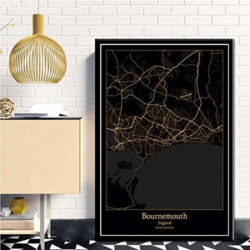 Serthny Schilderij schilderijen, Bournemouth Engeland zwart & Amp; Gold City Light Maps Custom Wereld Stadsplan poster kunstdruk op canvas in Scandinavische stijl Wall Art Home Decor 60x90cm (23.62×35.43inch)no frame