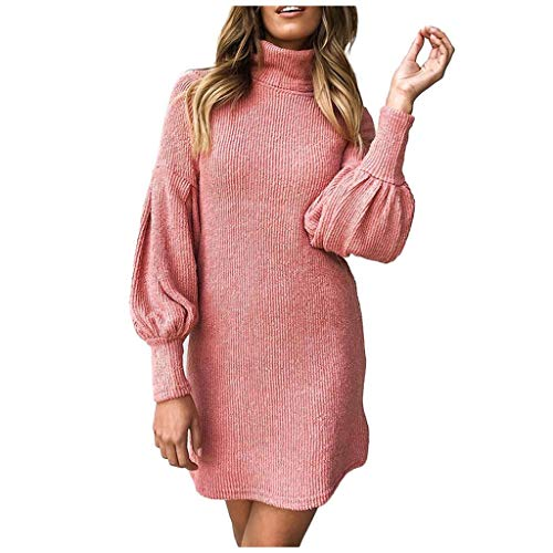 Xiangdanful Damen Strickkleider Rollkragen Sweater Wickelkleid Strickpullover Langarmshirt Herbst Winter Einfarbig Basic Kleid Laterne Ärmel Paket Hüfte Kleid Wrap Eng Minikleid (L, Rosa)