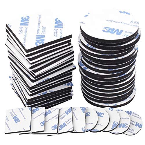 Klebepads Doppelseitig, 120 Stück Doppelseitige Schaumstoff-Pads, Schwarz Doppelseitiges Klebeband Extra Stark, Quadratisch und Rund, 40mm*40mm