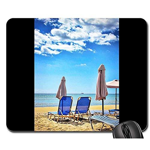 Gummiunterseite Mausmatte,Pad Maus Unterlage,Anti Rutsch Gaming Mausepad,Strand Sonnenliege Sonnenschirm Urlaub Sonnenliegen 30X25Cm,Glatte Mousemat,Bürocomputer Pad