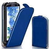 MoEx® Flip Cover con Chiusura Magnetica Compatibile con Samsung Galaxy S3 / S3 Neo   Finta Pelle, Blu Scuro