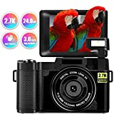 Digital Camera Vlogging Camera, 24MP Full HD 2.7K YouTube Camera with Retractable Flashlight and Flip Screen