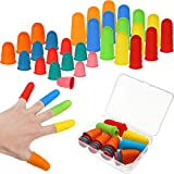 30 Pieces Silicone Finger Protectors Rubber Finger Tips Pads Finger Cover Caps with Assorted Sizes for Hot Glue Sewing Crafts Wax Resin Honey Adhesives Counting Collating Writing Sorting Tasks
