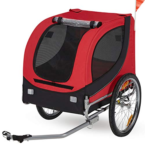 Esright Dog Bicycle Trailer, Pet Bike Trailer Ride Fun Carrier Jogging Kit, for Small and Medium Dogs (Red Black)