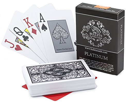Bullets Playing Cards Waterproof Platinum Plastic Poker Cards with Texas Holdem Cut Card