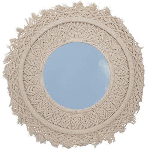 Guru-Shop Spiegel met Geknoopte Lijst, Macramé, Rond, 50x50x2 cm, Spiegels