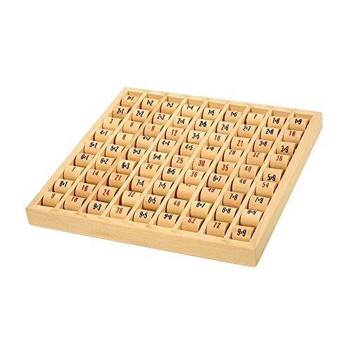 small foot 7392 Multiplizier-Tabelle aus Holz, Lernspiel zum Erlernen des kleinen 1x1 in der Grundschule