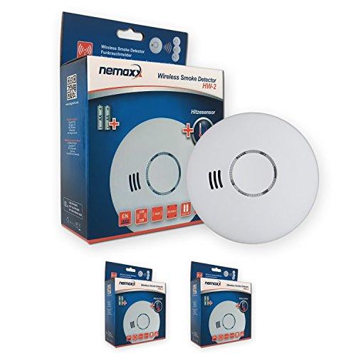 2X Nemaxx HW-2 Funkrauchmelder Rauchmelder Hitzemelder mit kombiniertem Rauch- und Thermosensor nach DIN EN 14604 - Weiss