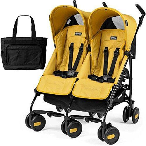 Peg Perego - Stroller Pliko Mini Twin Mod Yellow with Black Diaper Bag