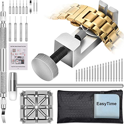 Watch Band Tool Kit - EasyTime Watchband Link Remover Tool, Watch Band Tool Kit, Spring Bar Tool Set for Watch Repair and Watch Band Replacement with Head Hammer, Watch Link Remover - Black