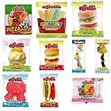 eFrutti Gummi Candy Variety Party Pack - Pizzas, Mini Burgers, Sour Mini Burgers, Hot Dogs, Cup Cake, Sea Creature, Bracelet, Playmouse, Sour Fruit Fries, Sour Gecko (40 Total)