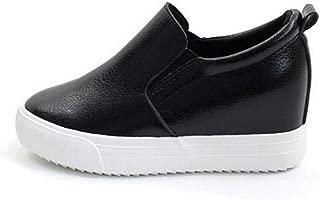 Women's Casual Leather High Mid Heels Hidden Wedges Slip On Platform Sneakers Loafers