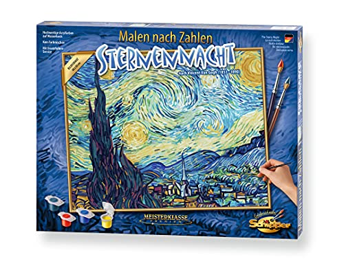 Schipper 609130816 Malen nach Zahlen, Sternennacht nach Vincent van Gogh - Bilder malen für Erwachsene, inklusive Pinsel und Acrylfarben, 40 x 50 cm