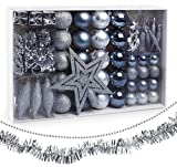 Sweelov Weihnachtsbaum Schmuck 73-teilig Weihnachtskugeln Glitzernd Kunststoff Christbaumschmuck Baumspitze Girlande und Sterne Silber/Grau/Blau, Ø6/4cm