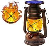 KINGLEAD Solarlaterne Für außen Solarleuchte Flammenlicht Solar-LED-Sturmlampe Helle Dimmbare LED-Sturmleuchte IP65 wasserdicht Garten Solar Laterne Hängende Camping Nachtlichter Landschaft Dekoration