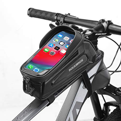 ROCKBROS Bike Phone Front Frame Bag Waterproof Bicycle Phone Mount Bag Hard Shell Bike Phone Pouch Holder for Mountain Road Bike Accessories