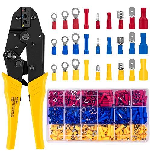 HBselect Crimpzange Kabelschuhe Set Mehrkomponenten-Hüllen mit 700 stk Elektrische Steckverbinder Kabelschuhzange Quetschverbinder Sortiment 0,5-6 Quadratmillimeter für isolierte Kabelschuhe