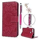 iAdvantec Huawei Y6 2018 / Huawei Honor 7A Hülle Hülle, Filp PU Leder Wallet Handyhülle Flipcase : Bookstyle Sonnenblume Tasche Schutzhülle in Rose Rot + Pen + Plug