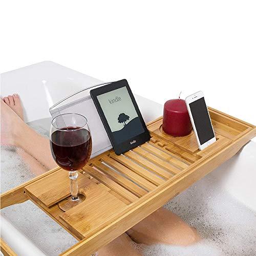 WIG-WYF Carrito de baño Extensible de bambú de Primera Calidad, Carrito de baño de bambú, Soporte para Copa de Vino, reposapiés, Tabla de baño, Estante para Bandeja de baño Carrito para bañera