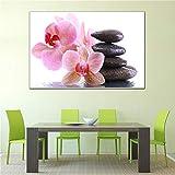 GJQFJBS Affiche Imprimer Mur Artiste Décoration de La Maison Toile Blanc Rose Orchidée Fleur Eau Pavé Toile Photo A2 70x100 cm