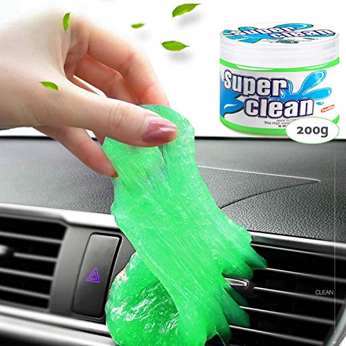 Dust Cleaning Gel for Car Detailing Putty, Dust Remover Slime Cleaner, Car Interior Cleaning Kit Auto Detail Tool, Car Duster, Detailer Putty, Dust Cleaner Car Glue for Air Vent, Keyboard (green_idea)