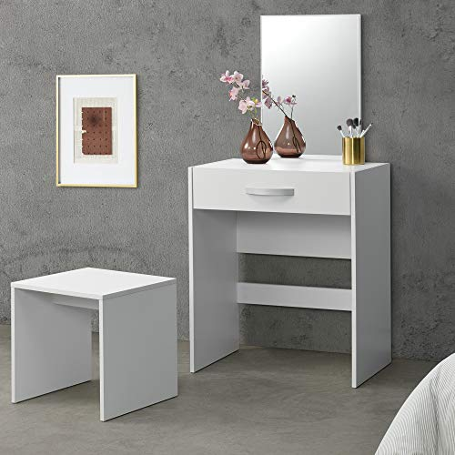 Tavolo da Trucco con Cassetto 132 x 63 x 39 cm Tavolo da Toeletta con Specchio e Sgabello Tavolo Cosmetico - Bianco