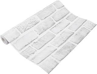 Cafopgrill Papel Tapiz Decorativo, 10 M Efecto 3D Mural Moderno Ladrillo de Piedra Papel Tapiz Decorativo Efecto 3D Fake Faux Brick Blocks Vintage Decoración del hogar