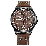 SCIDS - Orologio da polso da 46 mm, personalizzato, con doppio calendario, impermeabile, al quarzo, per uomo, colore: marrone scuro
