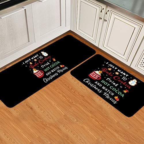 Christmas Kitchen Rug Set Kitchen Mats Cushioned Anti Fatigue Bake Cookies Hot Cocoa Watch Movies Black Mats for Standing Waterproof Microfiber Easy to Clean 2 Pieces 15.7x23.6inch+15.7x47.2inch