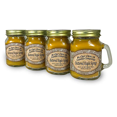 Our Own Candle Company Buttered Maple Syrup Scented Mini Mason Jar Candle, 3.5 Ounce (4 Pack)